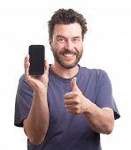 Bearded European Man Showing Smart Phone