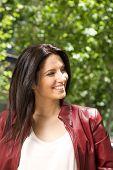 smiling pretty brunette woman