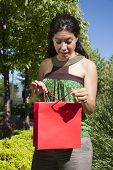 Surprised Happy Woman With Shopping Bag
