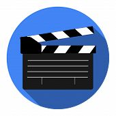 Film Maker Clapper Board  Icon. Flat Design Style