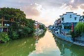 Nanjing Qinhuai River In Sunset