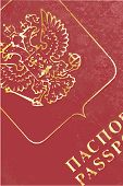 stock photo of passport cover  - The front cover of a Russian passport in closeup - JPG