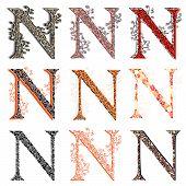 Various Combination Fishnet Letter N.