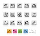 Computer and Devices Icons // Outline Buttons +++ Each color in a layer - To see the desired color, you need to make it visible in the layer panel +++ EPS 10+ / Contain Transparencies.