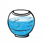 empty round aquarium, sketch vector illustration