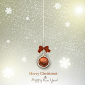 Christmas background with  Christmas ball and  snowflakes. Xmas Decoration Elements for design.