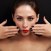 Sexy Bright Make-up Woman With Red Lipstick And Black Nails Polish