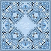 blue colour decorative pattern of ukrainian ethnic carpet design