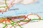 Close-up On Edinburgh City On Map, Travel Destination Concept