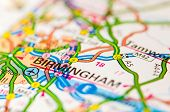 Close-up On Birmingham City On Map, Travel Destination Concept