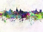 Oxford Skyline In Watercolor Background