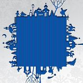 Christmas and New Year's paper frame with silhouette of town and people on blue background. Greetings card. Contain the Clipping Path