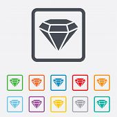 Diamond sign icon. Jewelry symbol. Gem stone.