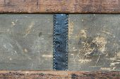 Antique trunk with leather detail