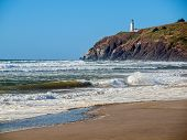 stock photo of coast guard  - North Head Lighthouse in Viewed from Benson Beach on the Washington Coast USA - JPG