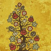 Fantasy flower tree over abstract golden background, vector