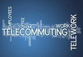 foto of telecommuting  - Word Cloud Image Graphic with Telecommuting related tags - JPG