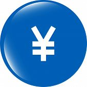 Yen Jpy Sign Icon. Web App Button. Shiny Button