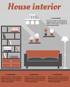 Living room interior infographic template