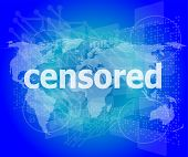 Censored Text On Digital Touch Screen - Social Concept