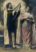 MOSCOW, RUSSIA, -  CIRCA 1900s: Antique photo, portrait of a two actors as Orpheus and Eurydice.