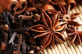 Carnation with cinnamon sticks and star anise on wicker background