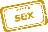 Sex Rubber Stamp Over A White Background