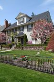 House with spring flowers and magnolia tree