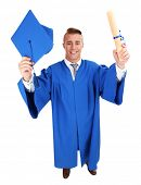 Man graduate student wearing graduation hat and gown, isolated on white