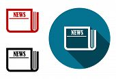 Flat round news icon