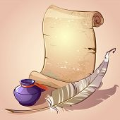 Scroll With Feather And Inkpot