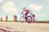 Racing Bicycles. Motion blur.
