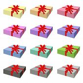 Set of Lovely Gift Box with Red Ribbon