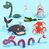 image of monsters  - Illustration of monsters of the deep blue sea collection set - JPG