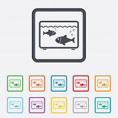 Aquarium sign icon. Fish in water symbol.