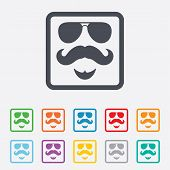 Mustache and Glasses sign icon. Hipster symbol.