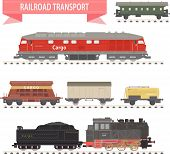 stock photo of caboose  - Set of different types of railway wagons - JPG