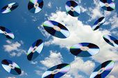 Dvd's flying in the sky