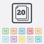 In pack 20 sheets sign icon. 20 papers symbol.