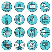 Network icons set blue line