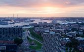 View of Rotterdam from height of bird's flight on a sunset