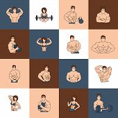 Bodybuilding fitness gym icons flat line