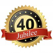 Jubilee Button With Banners - 40 Years