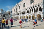 VENICE, ITALY jul 5, 2014. St. Mark square in Venice is the principal public square of Venice, Italy, where it is generally known just as