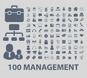 100 management icons set, vector