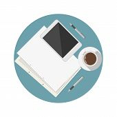 Flat vector icon for blogger work table