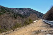 Gravel Road On A Mountain Pass