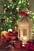 picture of desert christmas  - shining candles with christmas decorations - JPG