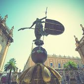 Giraldillo (weathervane 16-th century) in Sevilla, Spain. Instagram style filtred image