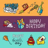 Birthday sketch banner set